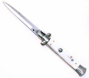 Genuine Italian Milano Godfather Stiletto Switchblade - White