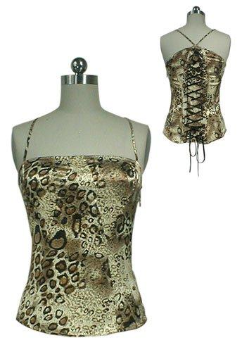 Gorgeous Silky Leopard Animal Print Ribbon Lace Up Corset Shirt Top Bustier M Medium Club Dancer NEW