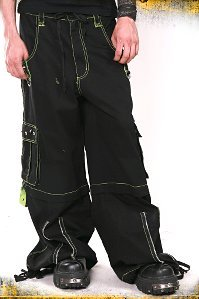 TRIPP NYC Black & Lime Stitched Bondage Pants Zip Off Shorts Gothic Emo Wiccan L Large NEW With Tags