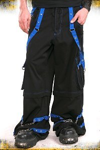 TRIPP NYC Black Blue Bondage Pants Zip Off Shorts Chains Skull Gothic Emo Wiccan XS X-Small NEW