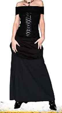 TRIPP NYC Black Gothic Lace Up Corset Dress Gown Renaissance Medieval Vamp M Medium NEW WITH TAG