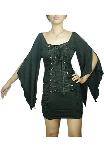 Midnight Black Lace Up Corset Mini Dress Gothic Club Renaissance Medieval Vampire Sleeve S Small NEW