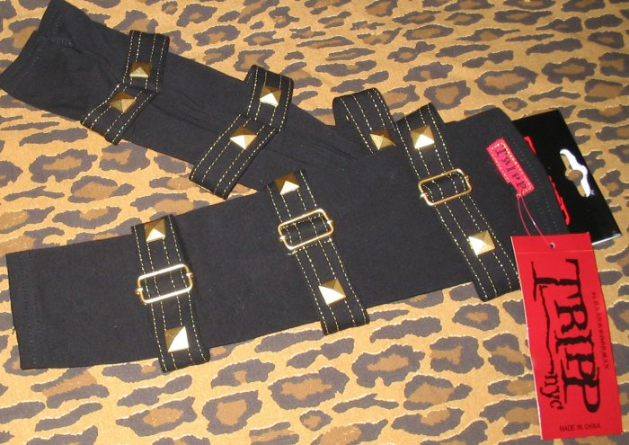 TRIPP NYC Gothic Midnight Black Pyramid Stud Buckle Arm Warmers Emo Vamp One Size NEW WITH TAGS