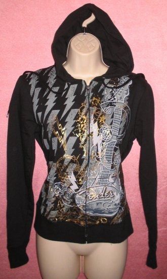 FENDER Guitar Black Hoodie Shirt Gold Metallic Punk Musician Groupie M Medium NEW WITH TAGS