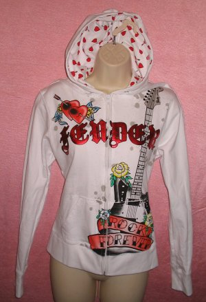 FENDER ROCK Guitar Hoodie Shirt Tattoo Musician Gothic Punk Groupie L LARGE NEW WITH TAGS
