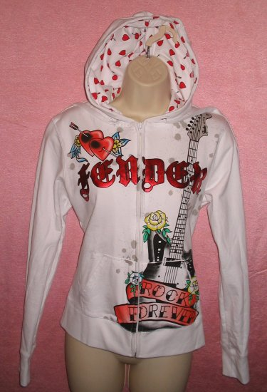 FENDER ROCK Guitar Hoodie Shirt Tattoo Musician Gothic Punk Groupie S Small NEW WITH TAGS