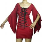 Red Black Corset Mini Dress Shirt Gothic Renaissance Vampire Sleeves M MEDIUM NEW In Package