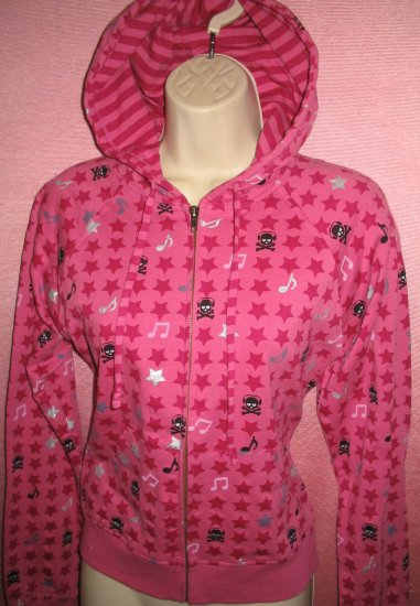 Punk Pink Hoodie Shirt Top Skulls Headphones Musician Gothic L Large NEW WITH TAGS