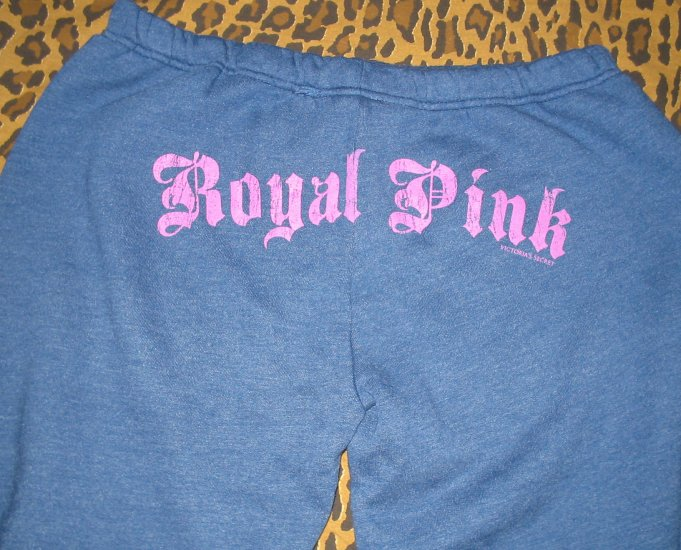 Victoria's Secret Royal Love Pink Varsity Blue Pants Dog Logo Sweats PJ S Small NEW WITH TAGS