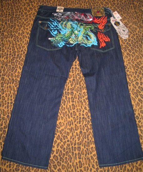 John KANJI Chinese Embroidered Dragon Mens Pants Jeans 42 X 32 HipHop Rap Club Urban NEW WITH TAGS