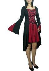 Black Red Lace Up Corset Dress Asymmetric Hem Gothic Renaissance Vampire Club Medieval L LARGE NEW