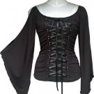 Midnight Black Ribbon Lace Up Corset Shirt Top Gothic Vampire Renaissance Medieval Club L Large NEW