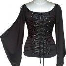 Midnight Black Ribbon Lace Up Corset Shirt Top Gothic Vampire Renaissance Medieval Club L Large NEW