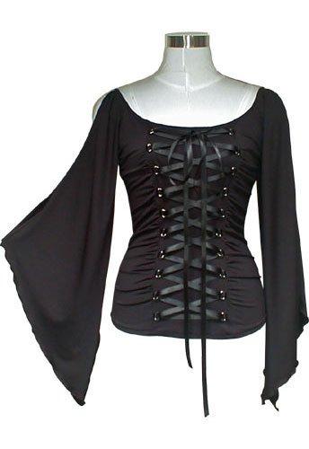 Midnight Black Ribbon Lace Up Corset Shirt Top Gothic Vampire Renaissance Medieval Club XL 1X NEW