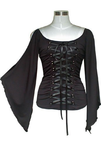 Midnight Black Ribbon Lace Up Corset Shirt Top Gothic Vampire Renaissance Medieval Club XXL 2X NEW