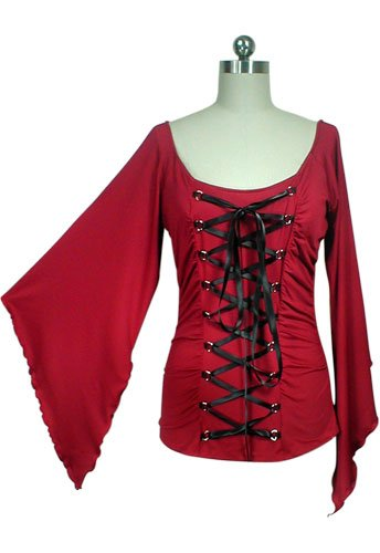 Stunning Red Black Ribbon Lace Up Corset Shirt Gothic Vampire Renaissance Medieval Club L Large NEW