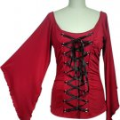 Stunning Red Black Ribbon Lace Up Corset Shirt Gothic Vampire Renaissance Medieval Club XXXL 3X NEW