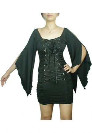 Midnight Black Lace Up Corset Mini Dress Gothic Club Renaissance Medieval Vampire Sleeve L Large NEW
