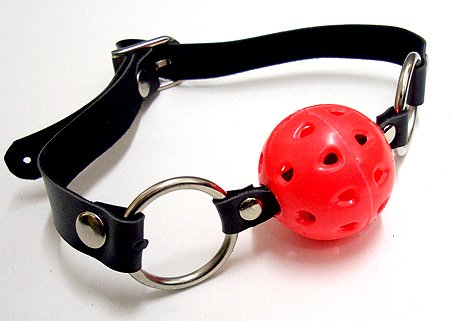Leather Red Ball Mouth Gag w/ Adjustable Size Buckle