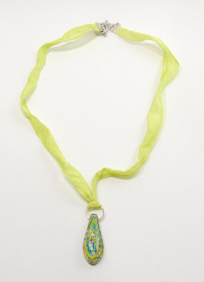 Handmade foil glass Pendant on Ribbon with Toggle Clasp