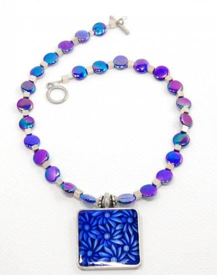 Blue mother of pearl and sterling silver necklace