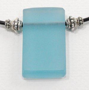 Denim Blue Resin Pendant on Leather Cord