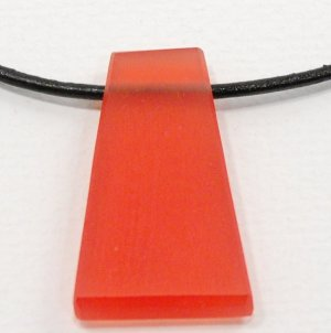 Red Resin Pendant on Leather Cord