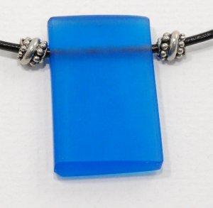 Dark Blue Resin Pendant on Leather Cord