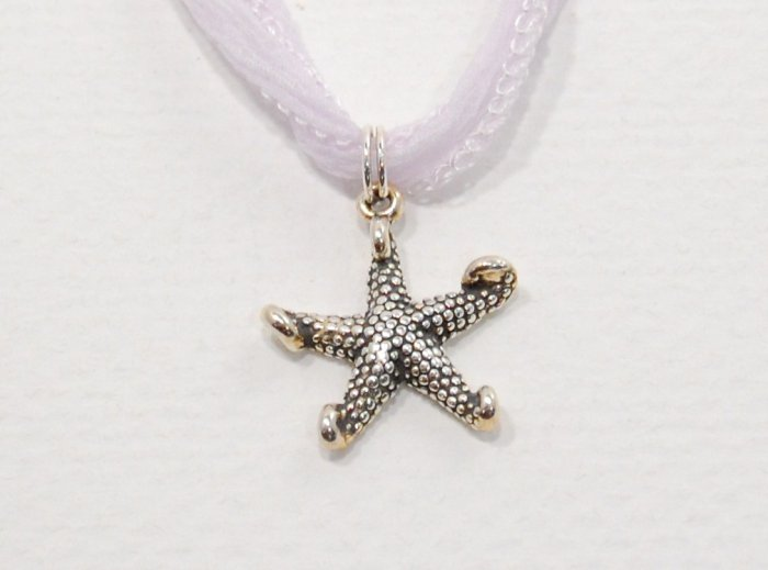 Sterling Silver Starfish on Fairy Ribbon