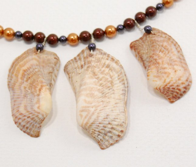 Large Shell and Freshwater Pearl Necklace
