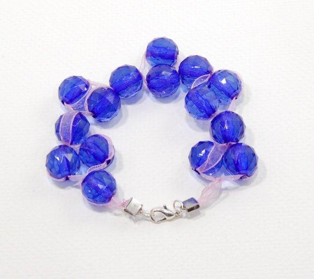 Blue Resin and Ribbon Bracelet