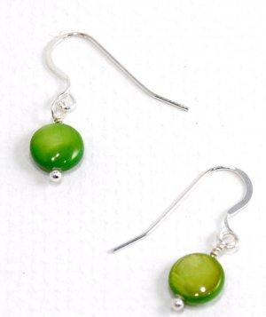 Green Mother of Pearl Earrings