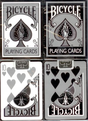 12 Decks Bicycle Black and Silver Playing Cards