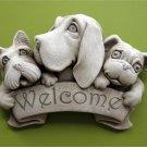 Triple Dog Welcome Plaque - Designer White 1197W