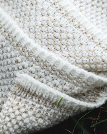 Two Color Seedstitch Throw - Ivory