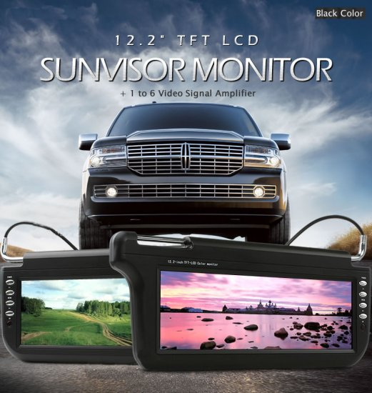 12.2 inch SunVisor TFT LCD Monitor (Black Color)
