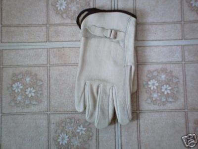 12 pairs Leather Driving Work Gloves w/ strap - medium
