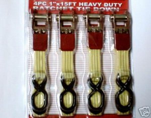 4pc 1'' X 15' Heavy Duty Ratchet Strap Tie Down