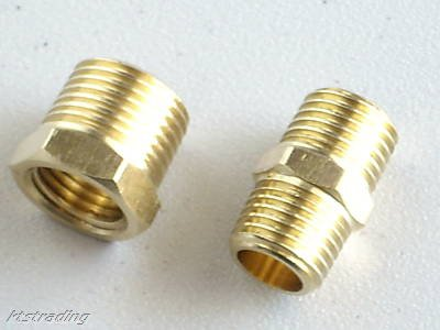 "2 pcs AIR FITTING ADAPTER-3/8""npt,1/4""npt-Brass"