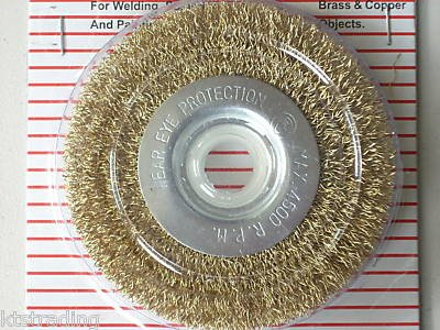 "4 "" Brass Wire Wheel Brush with 5/8"" hole"