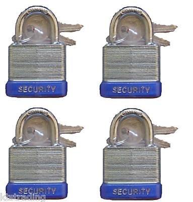 "30 mm Padlock- 4 pc keyed alike - 1"" padlocks"