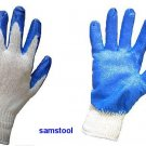 6 Pairs Blue Rubber Coated Gloves