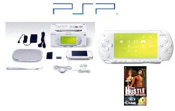 """Sony PSP Limited Edition """"Ceramic White"""" Value Pack + Hustle PSP Game"""