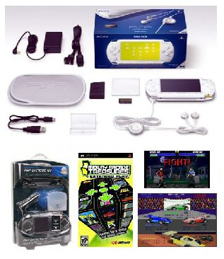 "Sony PSP ""Limited Edition"" Ceramic White ""Value Bundle"" - 21 Games + PSP Car Kit"