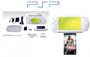 """Sony PlayStation Portable """"Ceramic White"""" PSP Giga Pack  USB Cable and Hustle PSP Game"""