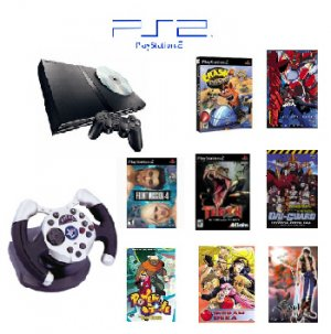 "Playstation 2 ""Anime Bundle"" - 3 Games, 5 Movies, 1 Wheel and more"