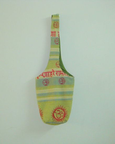 Funky Lightweight Canvas Om Hare Krishna Bohemian Tribal Shoulder Bag - Green 100% Handmade