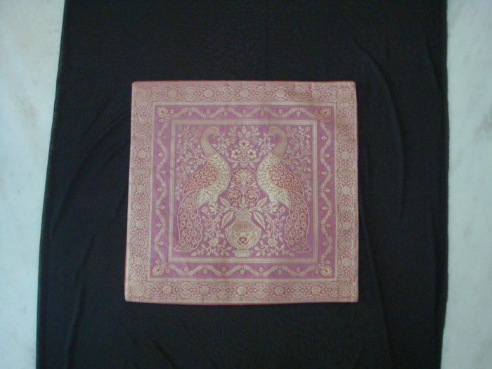 100% Handmade Banarasi Silk Pillow Covers - Pink