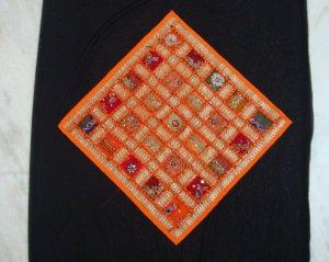 Checkerboard Sari Pillow Cover in Orange Multicolors - 100% Handmade