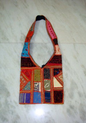 Funky  Funky Embroidered Thread Work Shoulder Bag with old saree Patch Work For Schools Handmade
